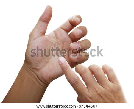 Hand of a caucasian female to hold card, mobile - stock photo