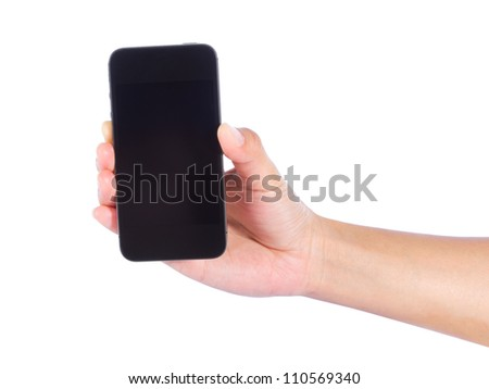 Hand of a caucasian female to mobile phone isolated on white background. - stock photo