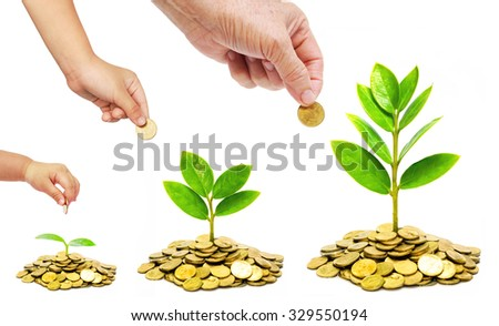 Hand of a female adult and a baby giving a golden coin to a green plant growing on a pile of golden coins / Green business / Teaching ethics and morals in business  - stock photo