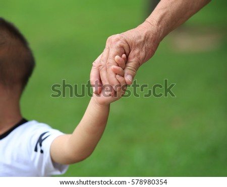 hand of a grandmother holding the little hand of her grandchild in the garden