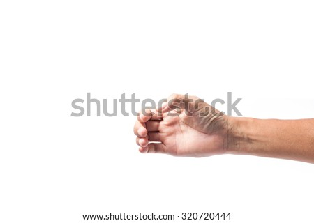 Hand of a male to hold card, mobile phone or other  - stock photo