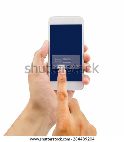 hand of a man entering password on your telephone terminal - stock photo