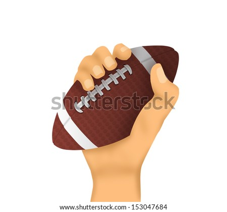 Hand of a man holding or passing an isolated football - stock photo