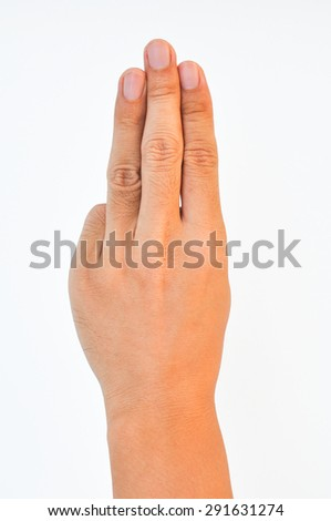 Hand of a man raising 3 fingers on white background - stock photo