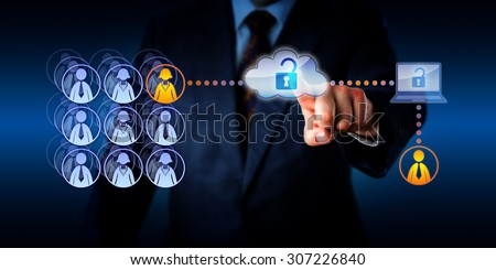 Hand of a manager unlocking cloud network access to connect with a male zero-hours contractor. This remote freelance worker is aiding a female permanent employee with a task via a secure connection. - stock photo