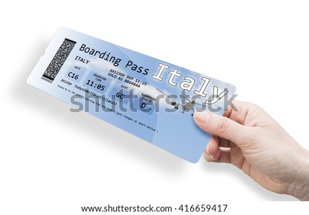 Hand of a woman holding a airplane ticket to Italy - image isolated on white. The contents of the image are totally invented.
