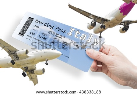 Hand of a woman holding a airplane ticket to Italy The contents of the image are totally invented.  The image background with the sky and the airplane are a picture of my property.