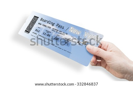 Hand of a woman holding a airplane ticket to New York. The contents of the image are totally invented and not contains sensitive information. Background images on the ticket are my property.