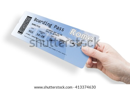 Hand of a woman holding a airplane ticket to Rome. The contents of the image are totally invented.