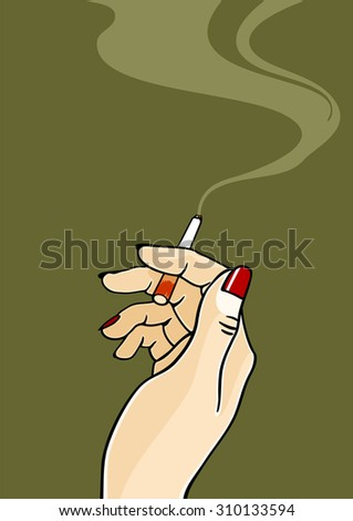 Hand of a woman holding a cigarette (raster version) - stock photo