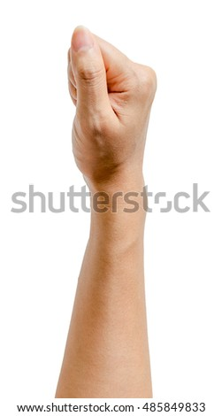 Hand of a woman or a man holding something isolated on white background, Clipping path included.