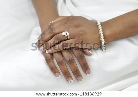 Hand Young African Woman Wearing Wedding Stock Photo Royalty Free