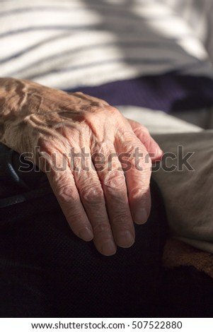 Hand of an old woman. Wrinkles of an elderly grandmother.