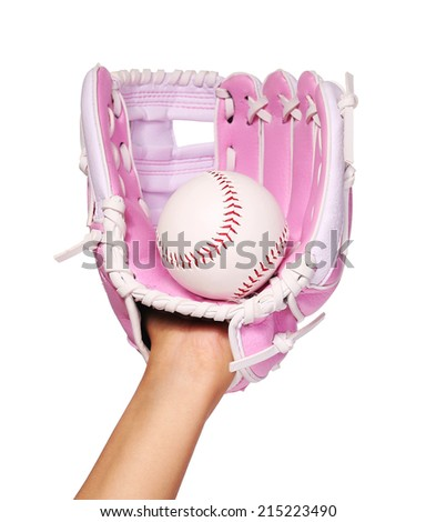 Hand of Baseball Player with Pink Glove and Ball isolated on white.  - stock photo