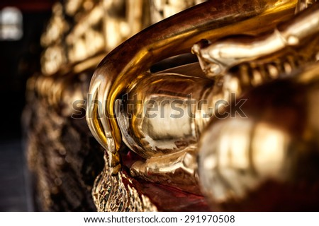 Hand of Buddha Image of Wat Pho, Bangkok, Thailand : In Thailand Buddha image are public domain, no artist name or any copy right appear on the image - stock photo