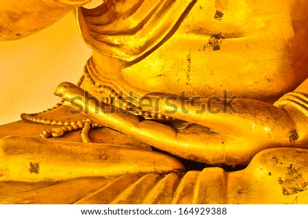 Hand of Buddha statue in Thai temple