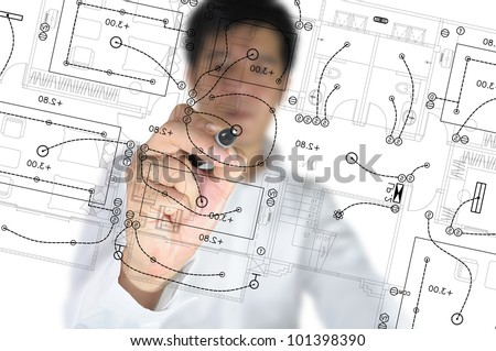Hand of Business Man Draw architect or home with electrical plan - stock photo