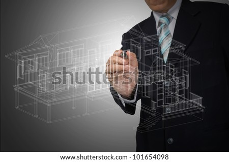 Hand of Business Man Draw 3D architect or home plan