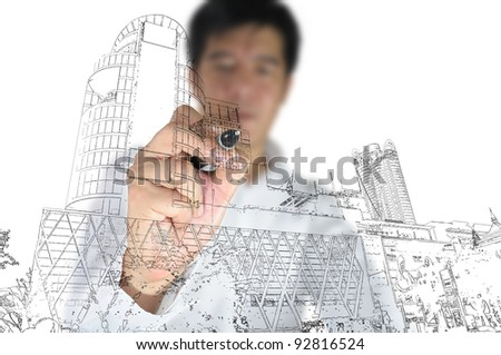 Hand of Business man draw modern building - stock photo