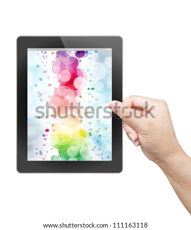 hand of business man holding and touching on touch pad