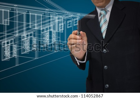 Hand of Business Man or Architect Draw 3D architectural home plan