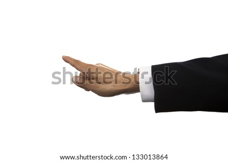 hand of business man pointing isolated whited background use for multipurpose