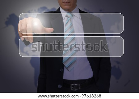 Hand of Business Man Pressing or Pushing transparent button on touch screen interface - stock photo