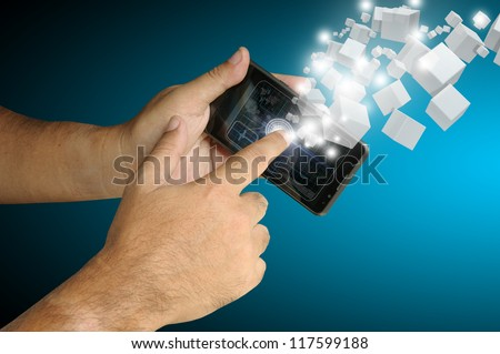Hand of Business man touch smart phone with virtual digital network interface or environment. - stock photo