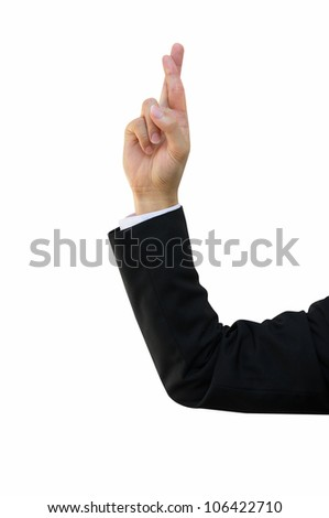 Hand of Business Man with Fingers Crossed, Lie Sign - stock photo