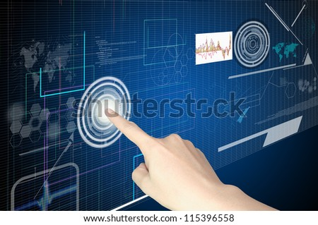 Hand of Business man working with virtual digital interface or environment