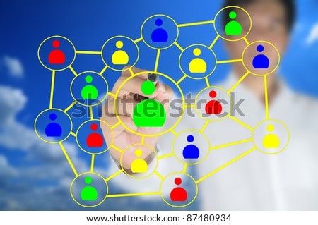 Hand of business man write a social network chart or diagram - stock photo