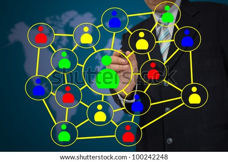 Hand of Business Man write Social network diagram