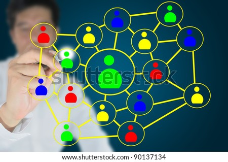 Hand of Business man write social network diagram on touch screen