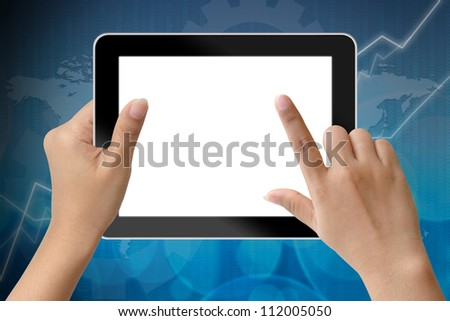 Hand of business woman holding digital tablet and touching with blank screen - stock photo