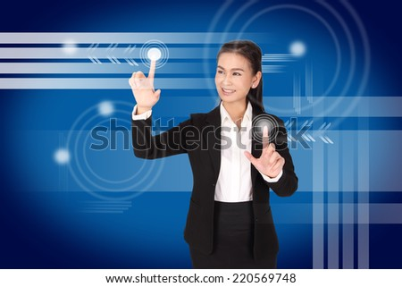 hand of business woman pushing a button on a touch screen interface