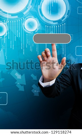 hand of business women pushing a button on a touch screen interface on background blue