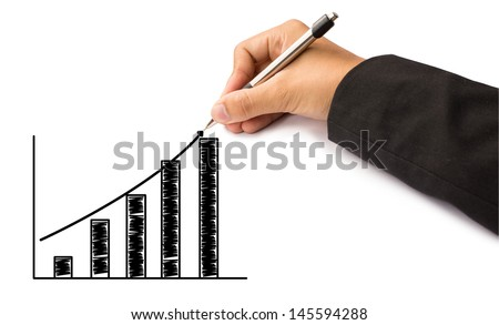 hand of business writing graph - stock photo