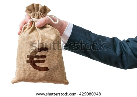 Hand of businessman holds bag full of money with Euro sign. Isolated on white background. - stock photo