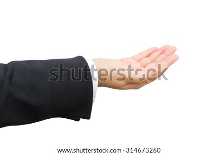 Hand of businessman on isolated background.