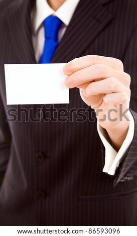 Hand of businessman showing business card