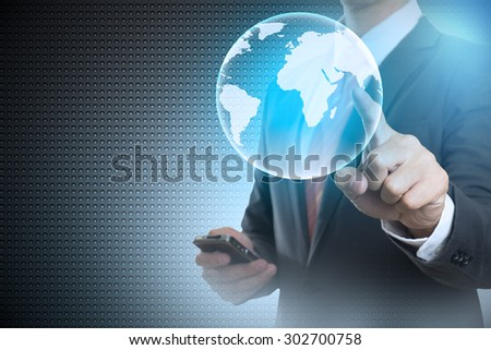 Hand of Businessman Touch control virtual world hightech concept