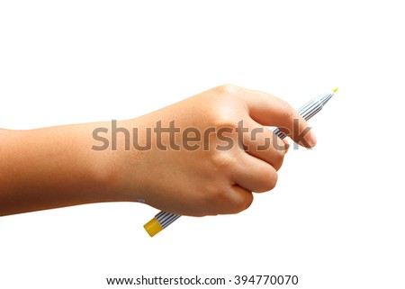 hand of child holding color pen ,isolate white background