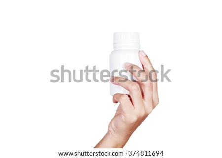 hand of doctor holding medicine bottle on white background - stock photo
