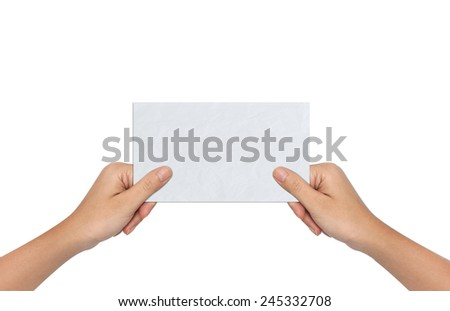 Hand of Female Holding a Blank paper - stock photo