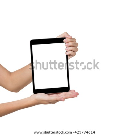 Hand of female shows blank screen of tablet computer pc, isolated on white. - stock photo