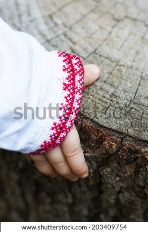 Hand of little boy dressed in ukrainian embroidered costume outddor - stock photo