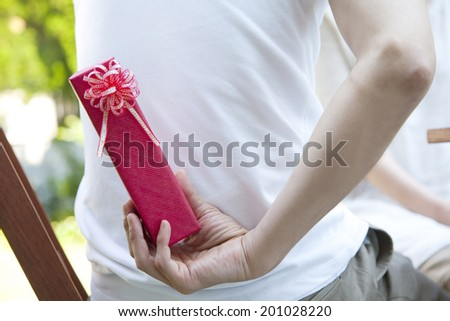 Hand of man hiding a gift - stock photo