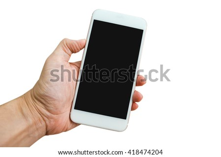 Hand of man holding white smartphone with blank screen, isolated on white background. - stock photo