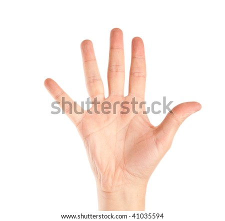 Hand of man. Isolated on the white background