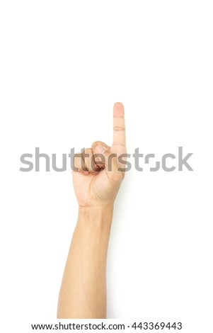 hand of man symbol pointing on white background.